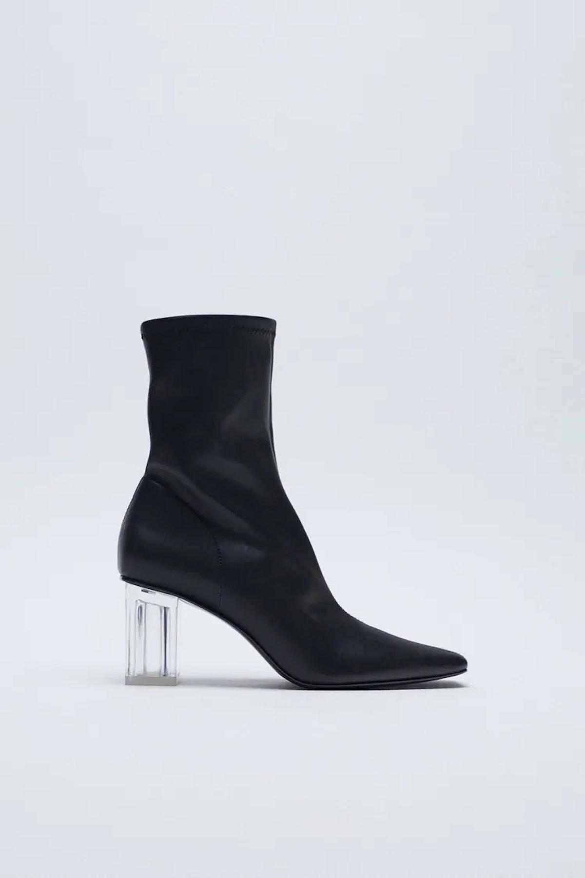 Methacrylate Heel Ankle Boots