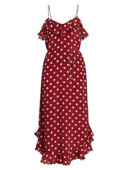 Polka Dot Scallop Tank Midi Dress