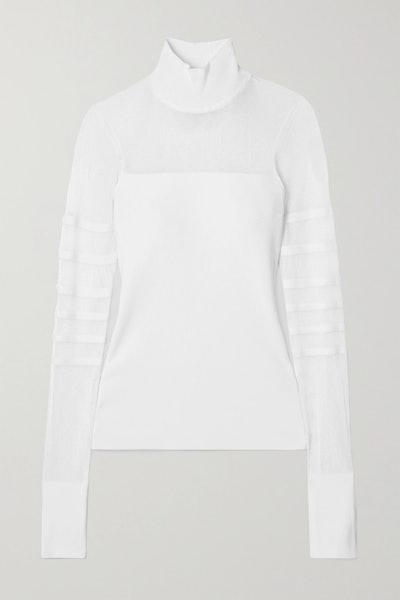 Paneled ribbed-knit turtleneck top