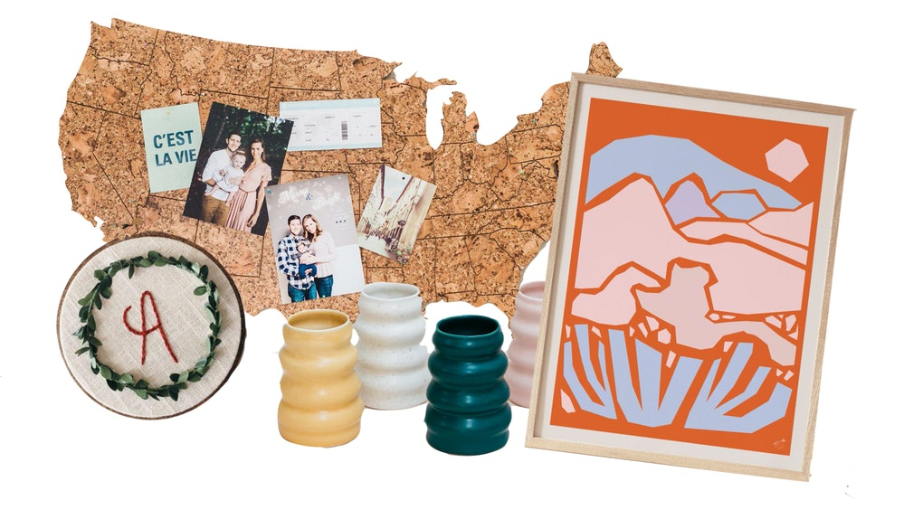 Etsy's 2020 Cyber Week Sales Event includes a desert art print, colorful vases, U.S. travel map, and personalized embroidered ornament.