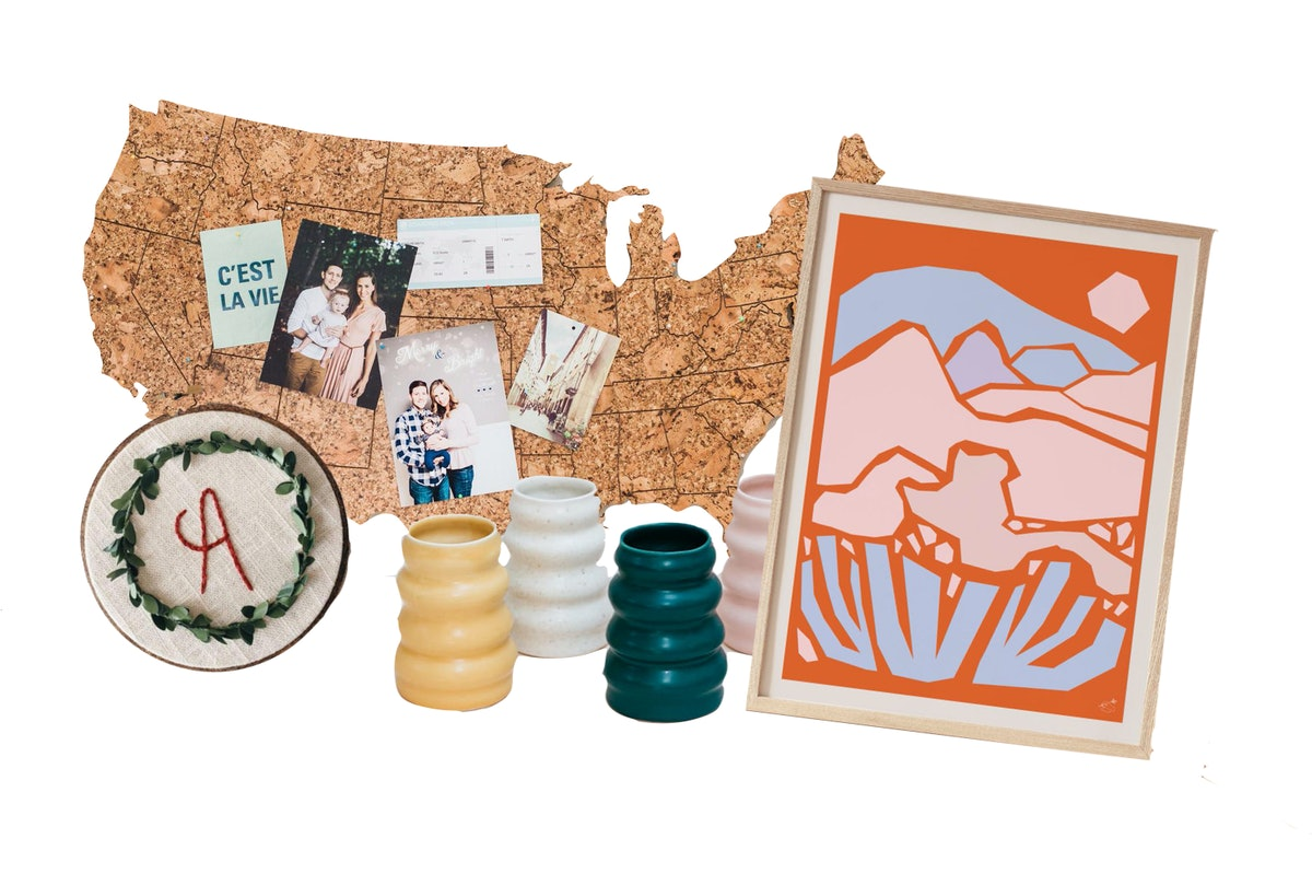 Etsy's 2020 Cyber Week Sales Event includes a desert art print, colorful vases, U.S. travel map, and...
