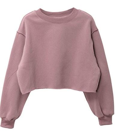 Amazhiyu Pullover Cropped Sweatshirt