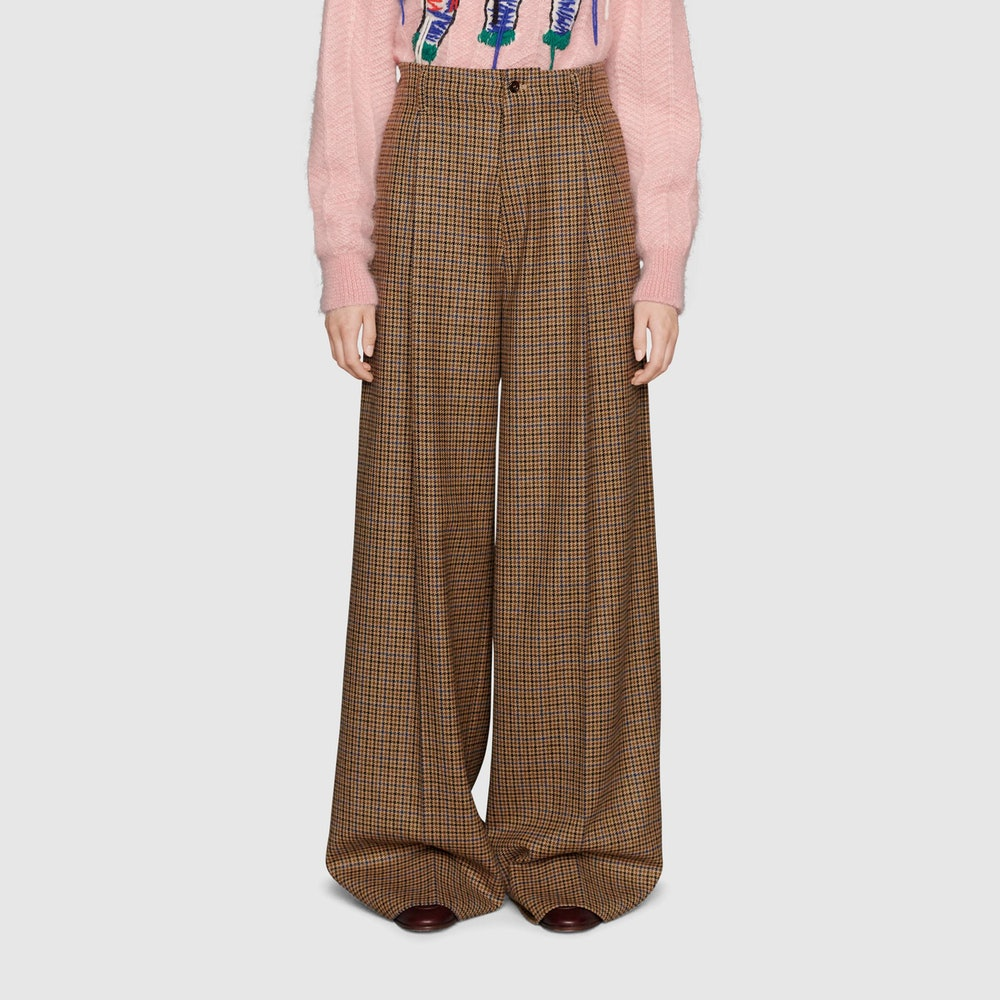 Houndstooth Wool Wide-Leg Pant