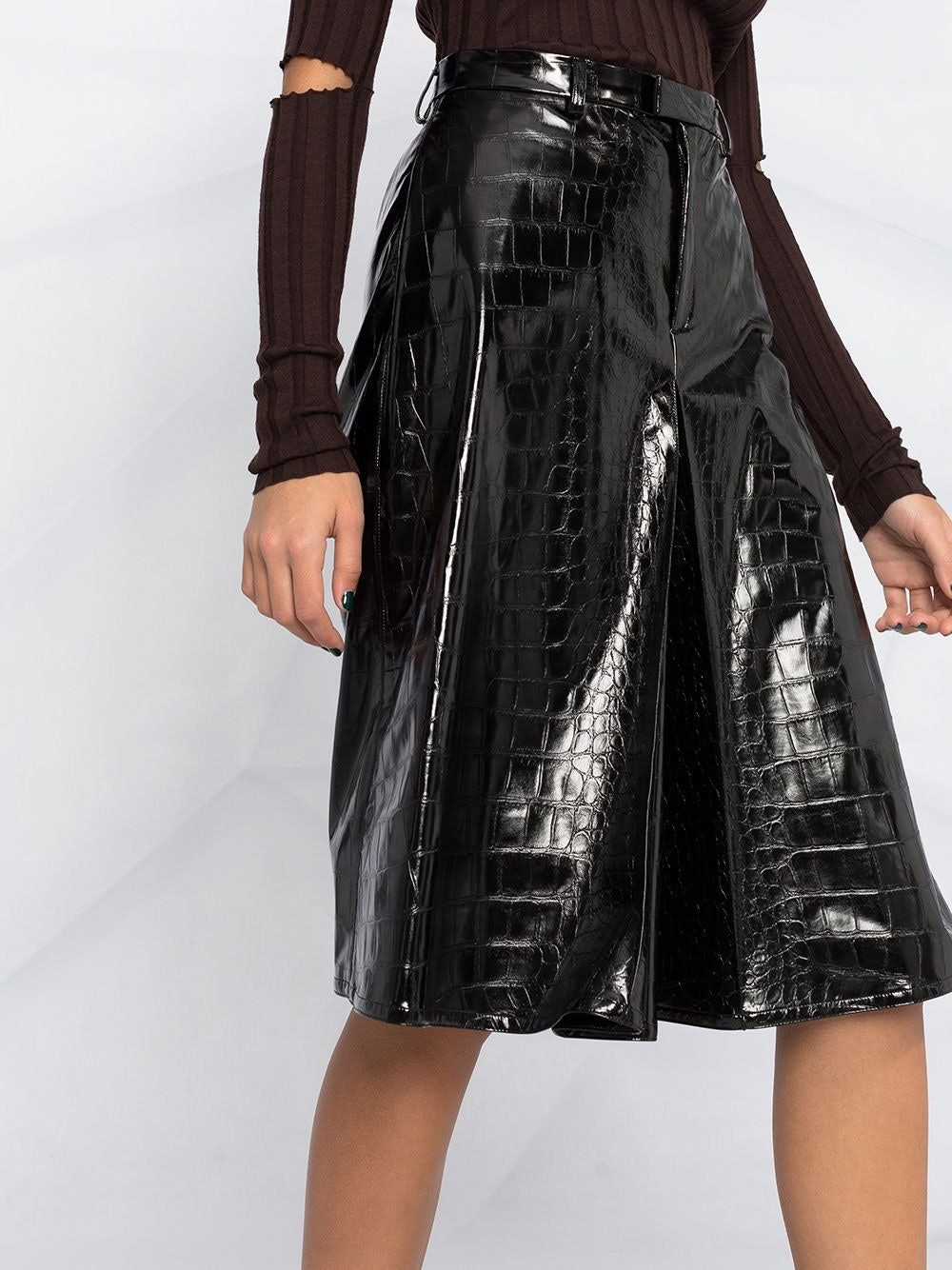 Embossed Faux-Leather Shorts