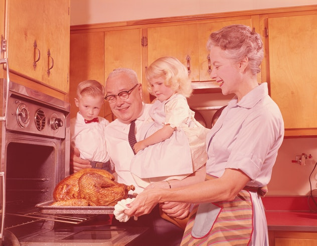 Grandparents on Thanksgiving with grandchildren.