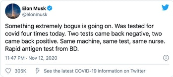 Elon Musk COVID-19 test tweet