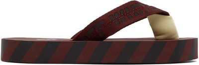 Off-White Burgundy & Black Flip Flop Sandals