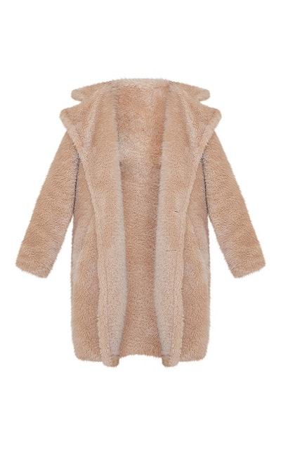 Camel Teddy Faux Fur Hooded Coat