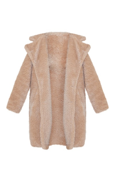 Camel Teddy Faux Fur Hooded Coat