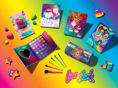 Lisa Frank collection for Morphe Cosmetics featuring eyeshadow and blenders