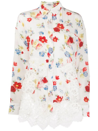Floral-print combined shirt