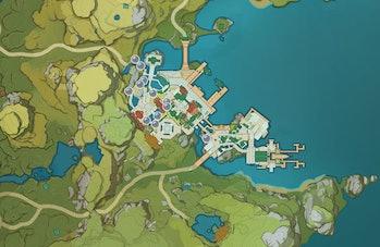 Genshin Impact Glaze Lily location Map