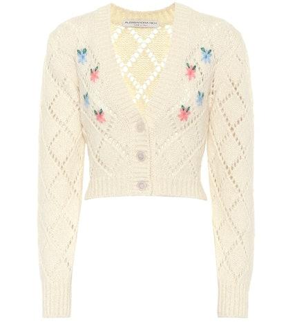 Embroidered alpaca-blend cardigan