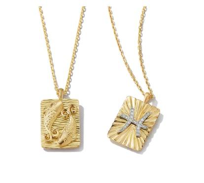 Pisces Zodiac Pendant Necklace with Diamonds