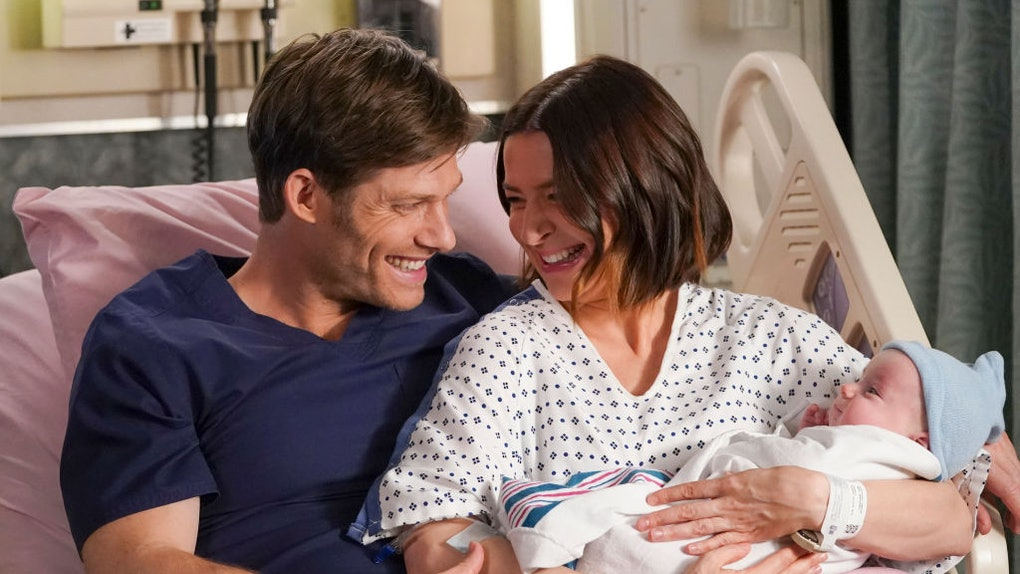 "Chris Carmack and Caterina Scorsone as Link and Amelia on ""Grey's Anatomy."""