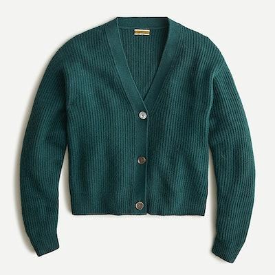 Ribbed Cashmere V-Neck Cardigan Sweater