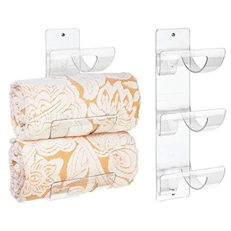 mDesign Modern 3-Level Bathroom Wall Mount Towel Rack Holder & Organizer