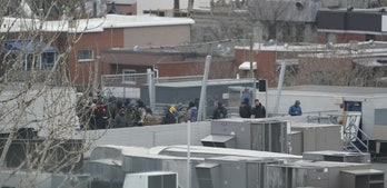 Dozens of people are on the roof of Ubisoft's Montreal office, some of whom barricaded the access door.