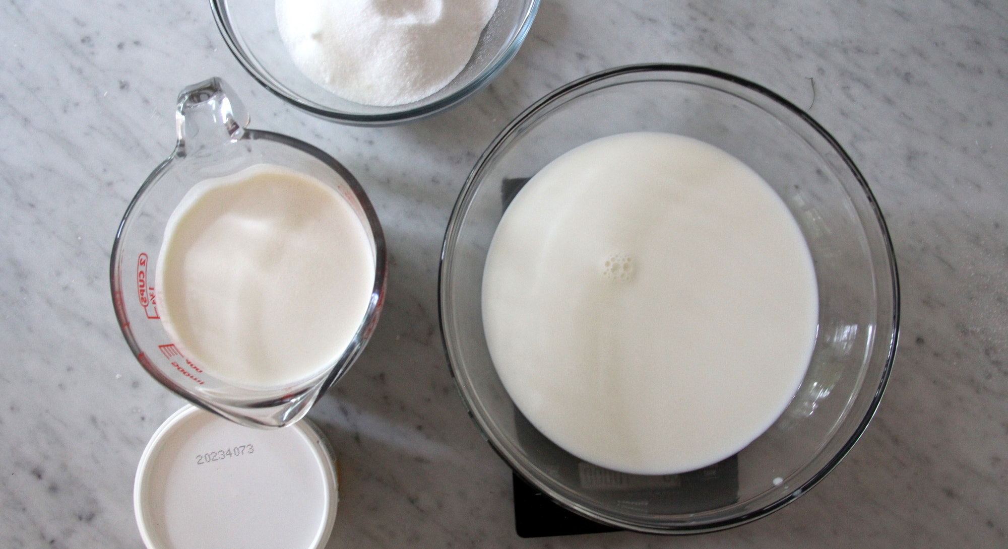 Milk, cream, sweeteners, and flavorings.