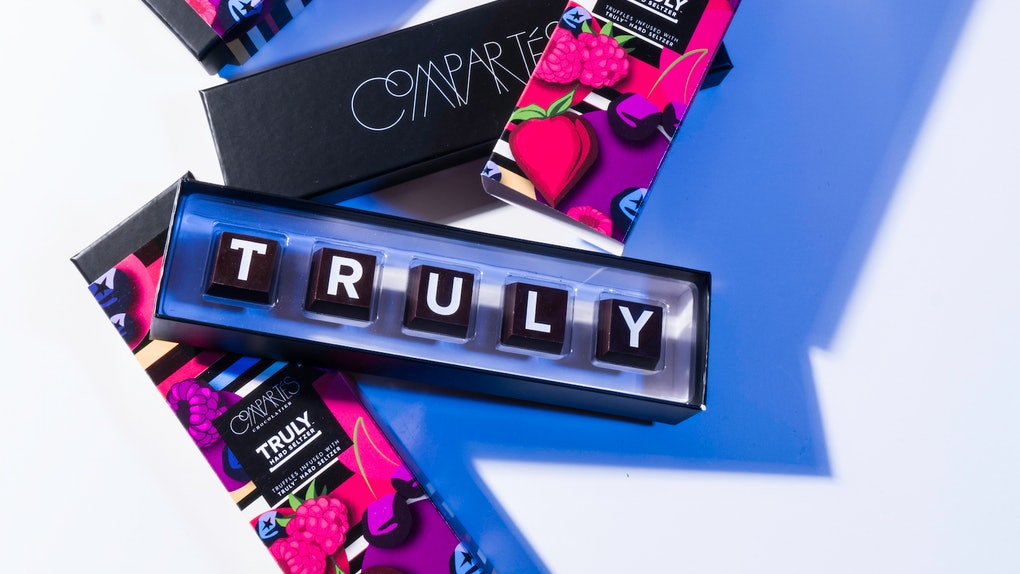 Compartes' Truly Hard Seltzer-infused chocolates are a festive treat.