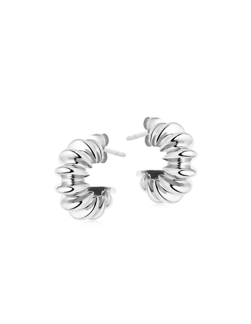 Silver Small Ridge Claw Hoop Earrings