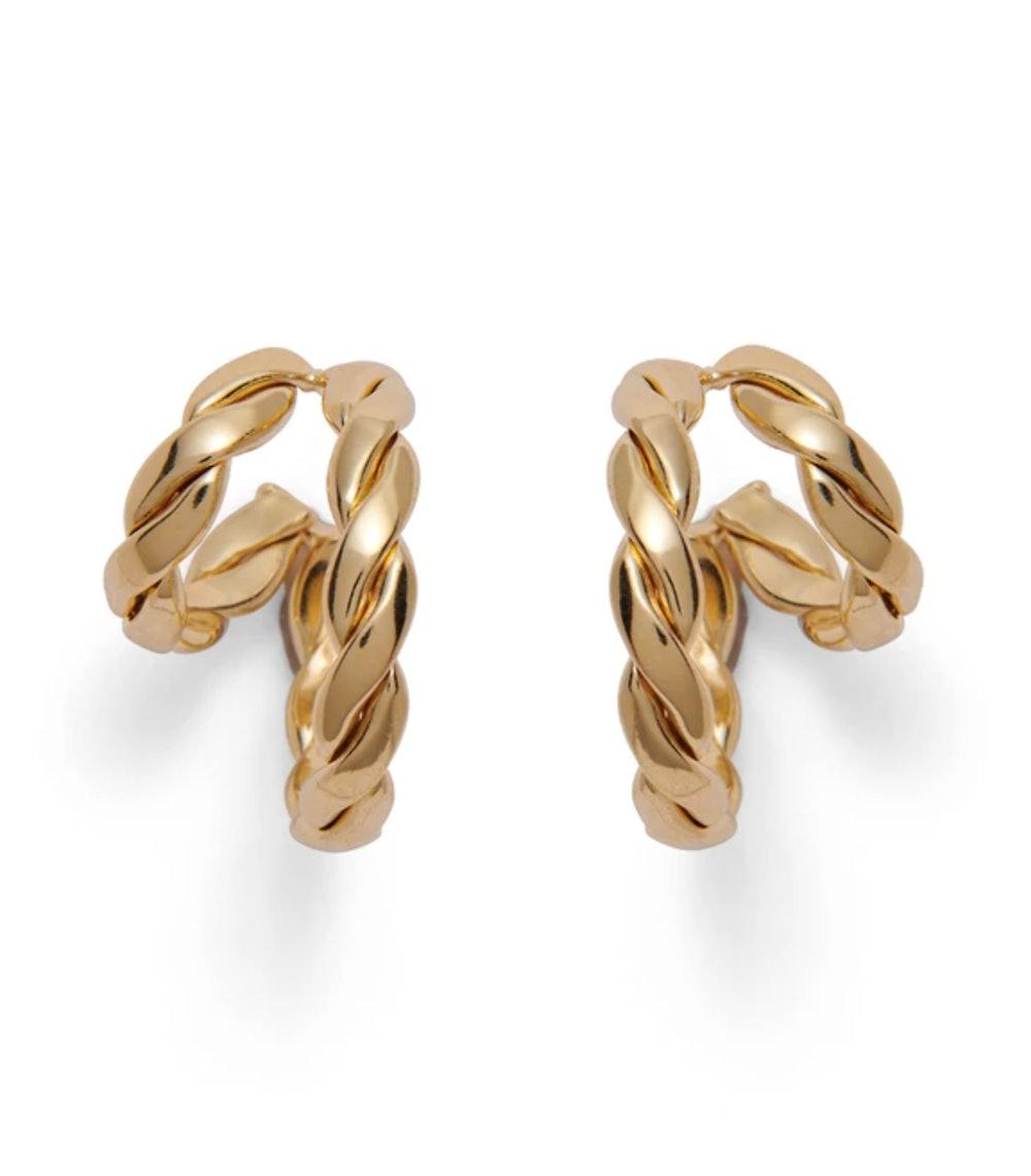 Double Braid Hoop in Gold