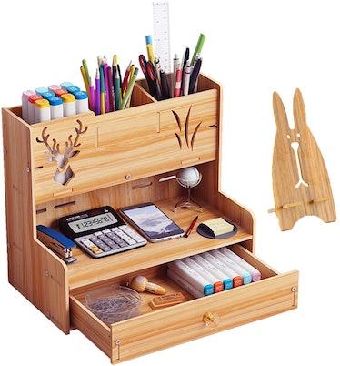 Marbrasse Wooden Desk Organizer