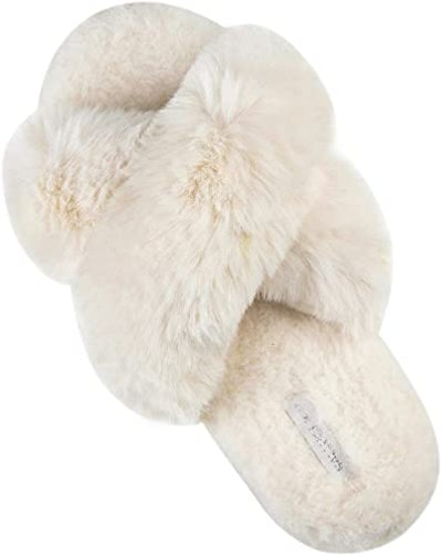 HALLUCI Women's Cross Band Plush Slippers