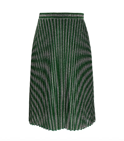 Plus Chevron Pleated Metallic Knit Skirt