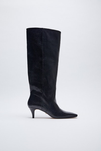 Animal Embossed Kitten Heel Leather Boots