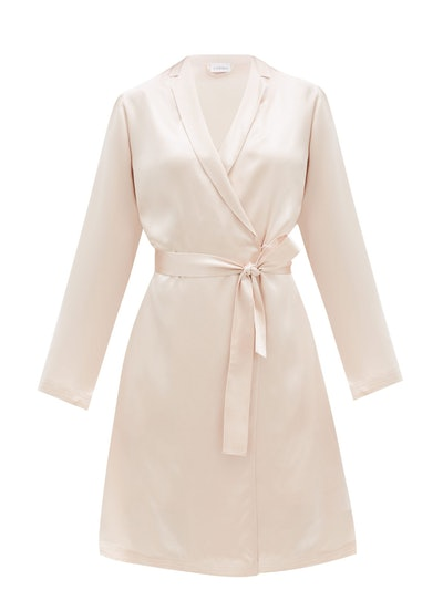 Belted Short Silk Robe