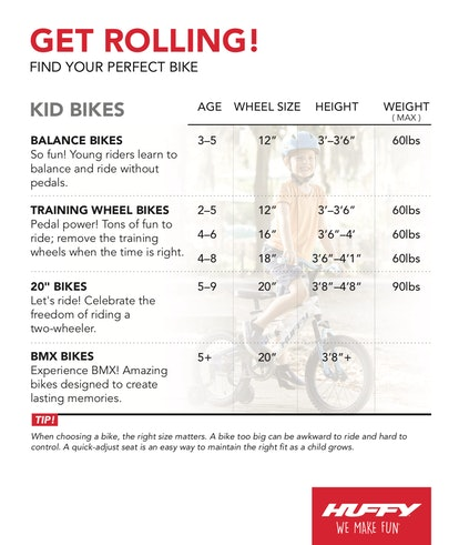 Using a size chart is one way to figure out what size bike to get for your child.