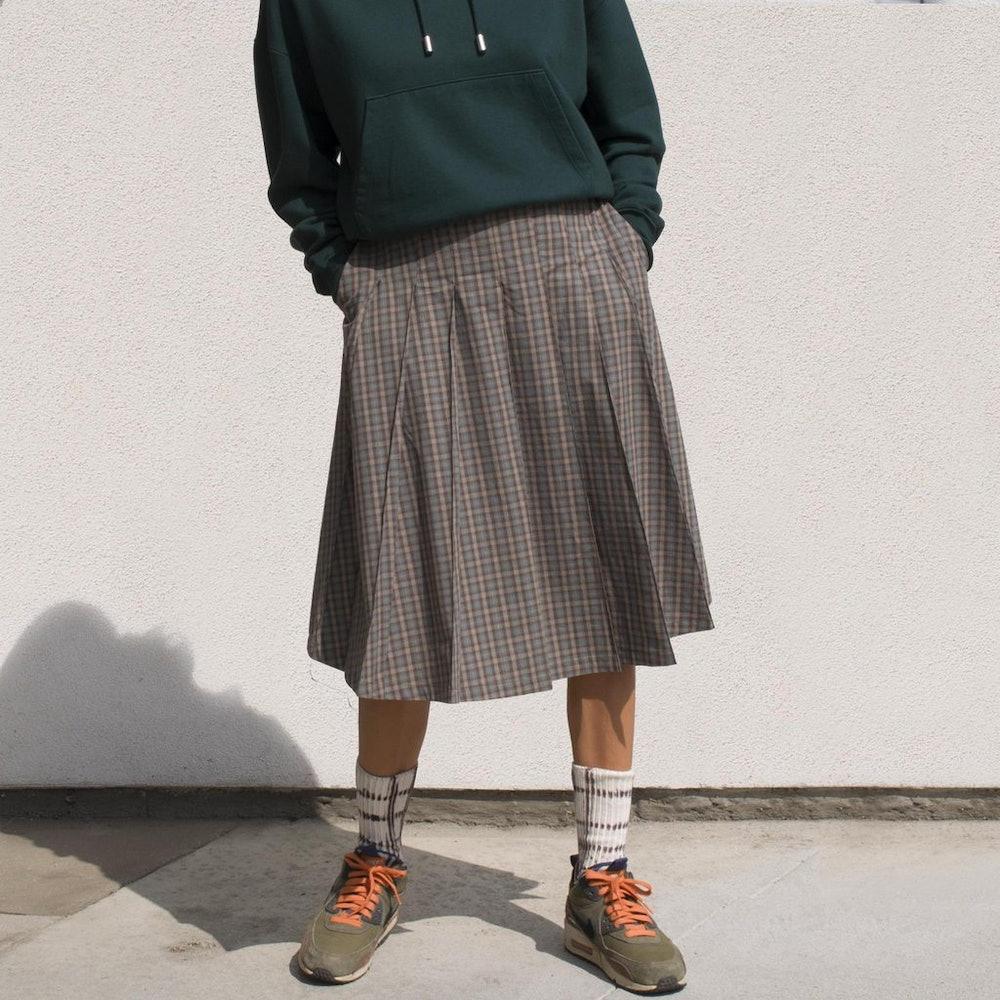 Mix Plaid Pleated Skirt