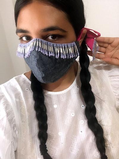 Beaded Fringe Face Mask
