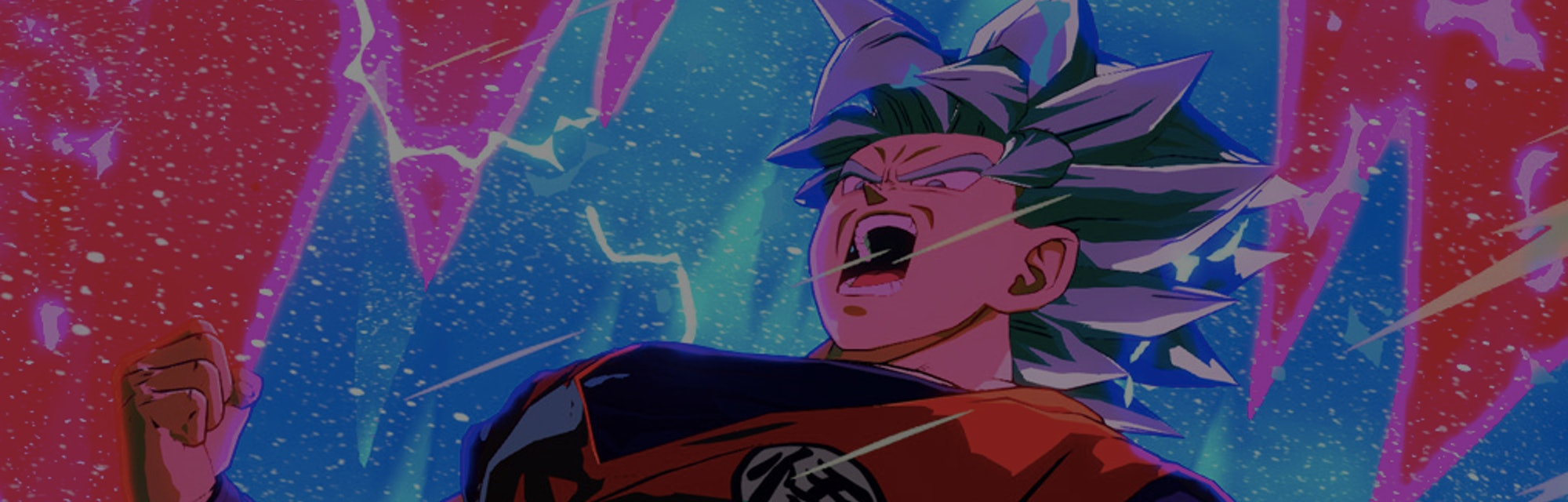 A close up of Goku in the game Dragon Ball FighterZ is shown.