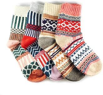 JOYCA & Co. Thick Winter Crew Socks (4 Pairs)