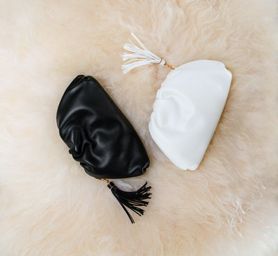 Understated Leather Crescent Clutch