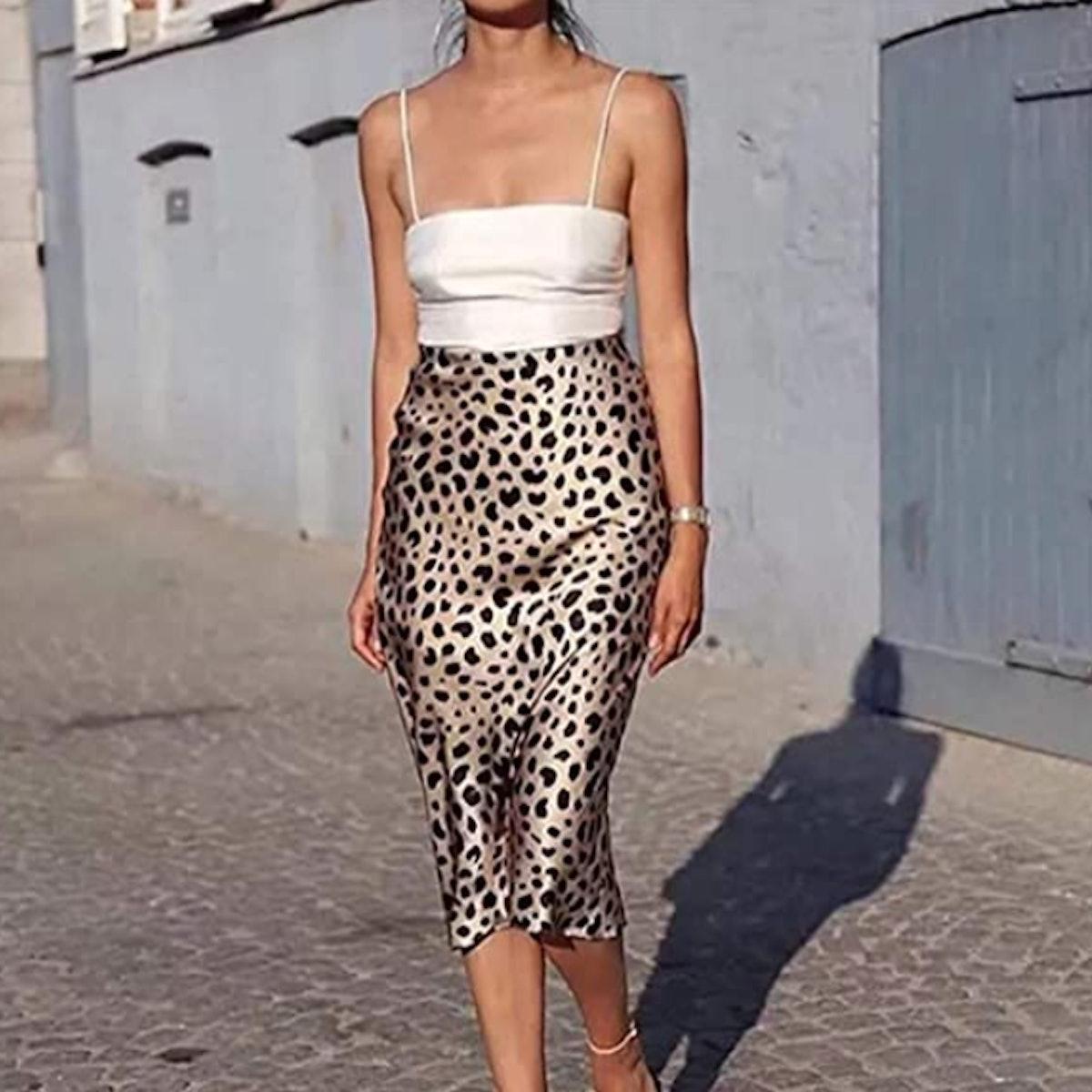 Soowalaoo Printed Satin Skirt