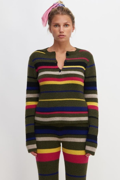 Panoma Striped Ribbed Henley