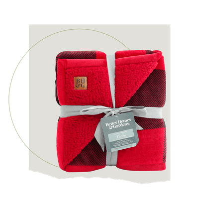 Better Homes & Gardens Oversized Sherpa Throw - Red Buffalo Plaid