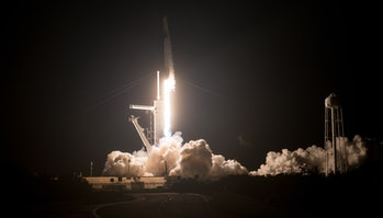 The rocket lifting off.