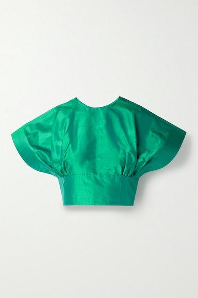 Cropped Silk-Taffeta Top