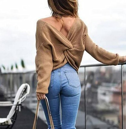 LifeShe Twisted Back Sweater