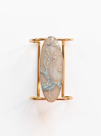 Luna Agate Brass Cage Cuff