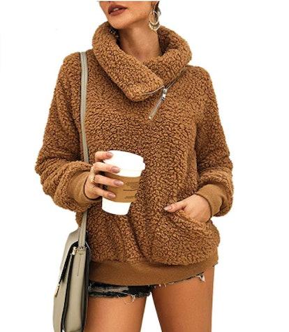 KIRUNDO Faux Shearling Sweatshirt