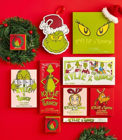 Items including an eyeshadow palette and lipstick from the Kylie Cosmetics and The Grinch Makeup Collection