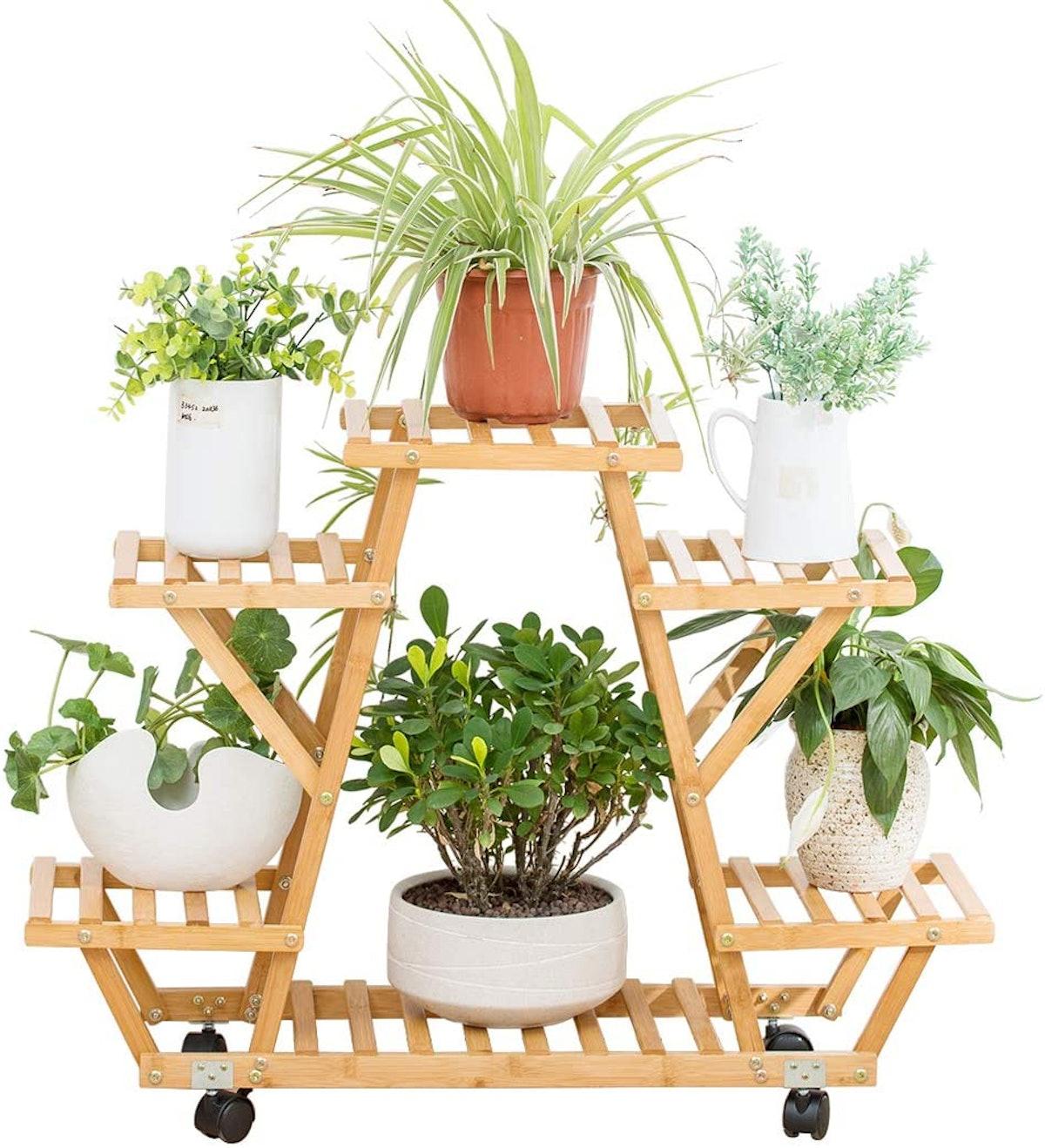 COPREE Bamboo Rolling Shelf Cart
