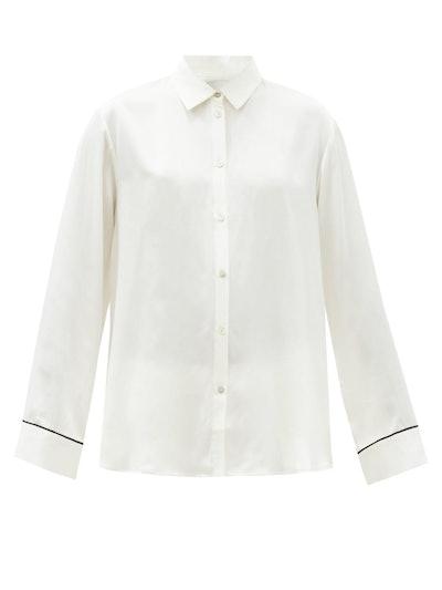 London Sandwashed Silk-Satin Pyjama Shirt
