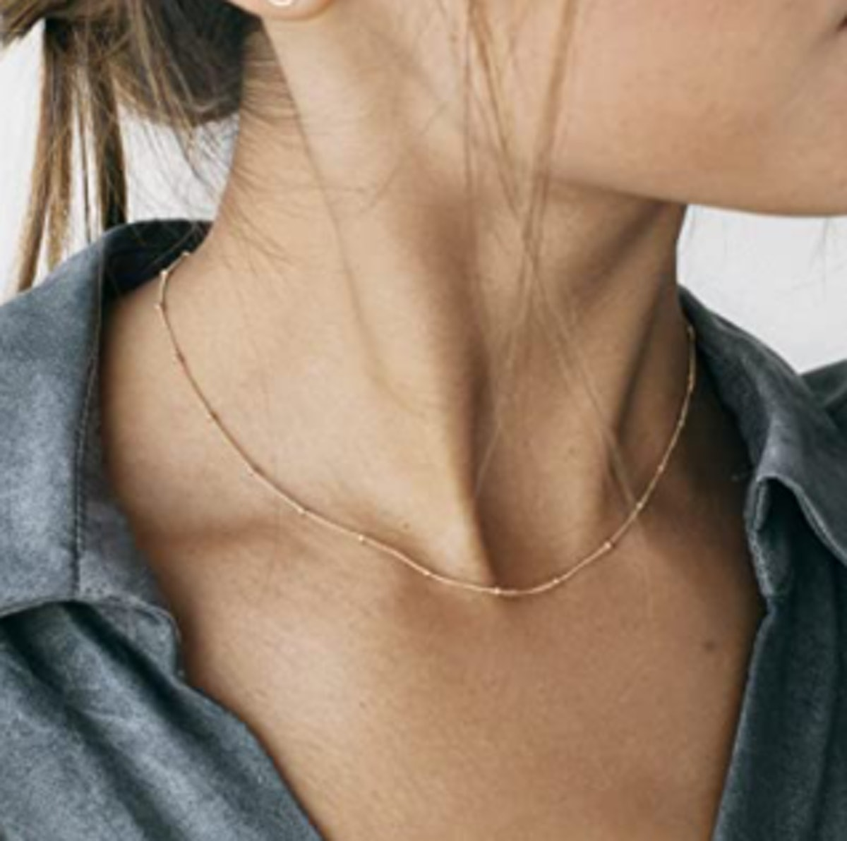 Aobei Pearl 18K Gold Paperclip Chain Necklace