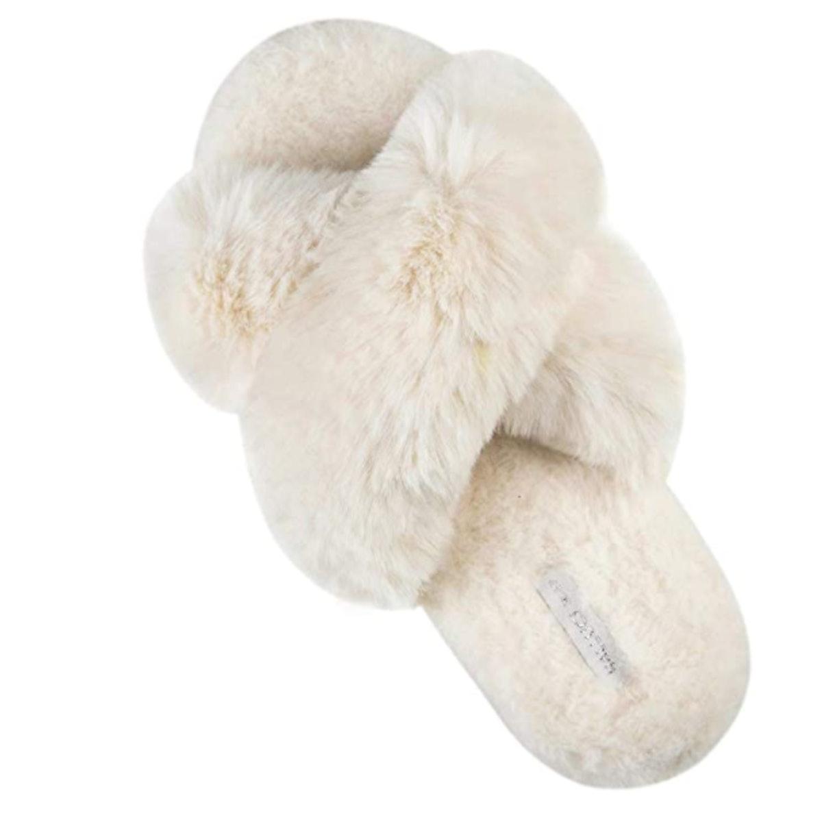 HALLUCI Cross Band Plush Slippers